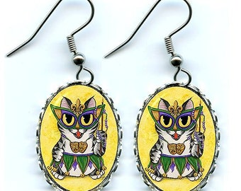 Mardi Gras Cat Earrings New Orleans Cat Mask Beads NOLA Fantasy Cat Art Cameo Earrings 25x18mm Gift for Cat Lovers Jewelry