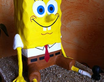 Sponge Bob painted Terra cotta