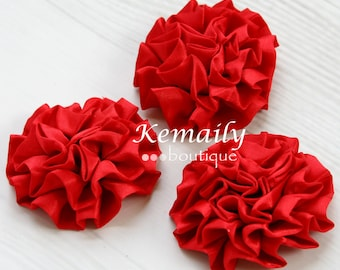 3 Pack Red Satin Puff Rolled Rosette Flowers, Fabric Flower, Craft Supplies, DIY Flower, DIY supplies, Embellishment