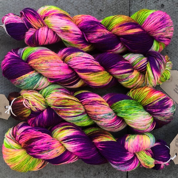 Zombie Hawkmoth BFL, bluefaced leicester nylon sock yarn