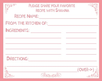 100 Personalized Recipe Cards -  Classic Pink