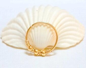 Beaded Cartilage Earring - Helix hoop - Cartilage Piercing - Helix Jewelry - Minimal Helix Jewelry - Piercing Hoop