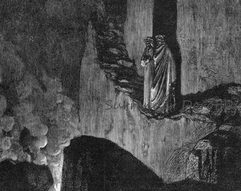 Flaming Spirits Ulysses & Diomedes Inferno Canto 26 Engraving Gustave Dore' Hell Black and White