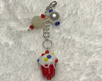 Small Red Cupcake Charm