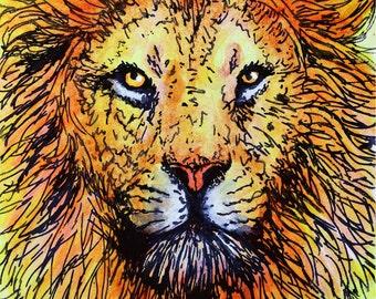 Lion ACEO Print, Acrylic Painting Print, Animal Art Print, ACEO ATC
