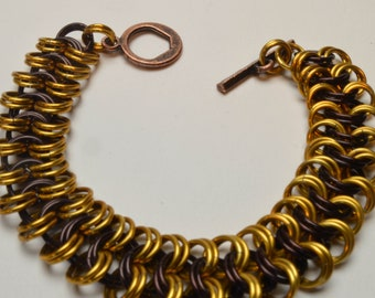 Brown and Gold European Chainmaille Bracelet