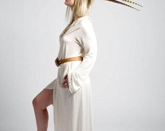 Bamboo wrap around, long cardigan, long-sleeve dress, Organik Mechanik, Organic fabric