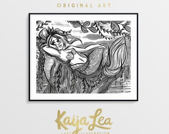 Mermay Original Ink Drawing by Kaija Lea | Mermaid Art | Ink Illustration | Disney Mermaid Art | Cute Mermaid Illustration | Mermaid Pinup