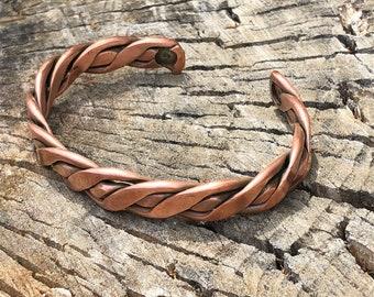 Large Copper Braid Cuff
