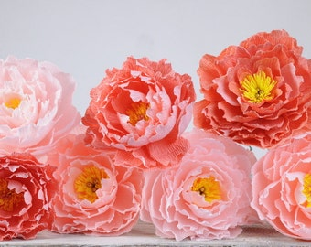 Paper peonies mix colors Wedding flowers Paper peony Crepe paper flowers Paper flowes bouquet Summer flowers Pink Peonies