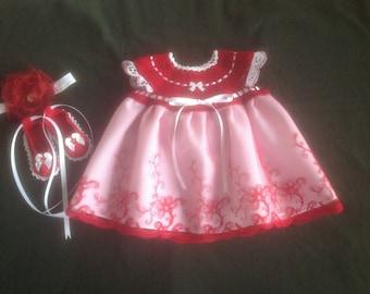 Newborn Baby Girl Dress Set - Cardinal Red & White