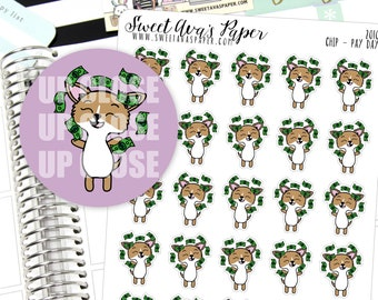 Pay Day Planner Stickers - Work Planner Stickers - Pay Check Planner Stickers - Dog Planner Stickers - Doodle Planner Stickers - 2010
