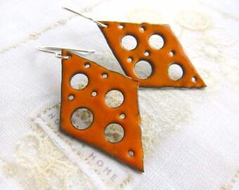 Orange earrings boho earrings rustic Enamel earrings torch fire enamel jewelry Artisan jewelry