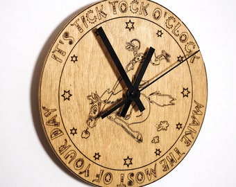 Hand Made Engraved Beech Wood Wall Clock / wooden / picture / quote / tick tock