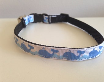 Blue Whales on Waves Cat Collar