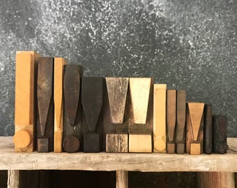 Choose Your Size / Letterpress Exclamation Point / Vintage Letterpress / Letterpress Punctuation / Printer Block / Wood Exclamation Point
