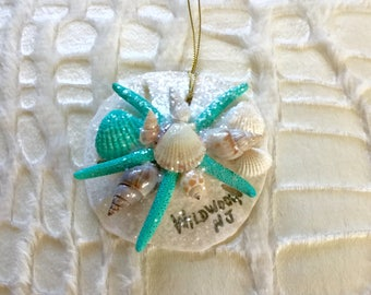 Wildwood, New Jersey Sea Shell Christmas Ornament w/ Opalescent Shimmer Sand Dollar Starfish Natural Shells, Coastal / Beach Hanging Decor