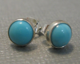 Natural Turquoise Round Post Earrings in Sterling Silver, Artisan Turquoise 6mm Studs, Natural Turquoise Stud Earrings