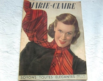 Vintage French  magazine Marie Claire number 32, 8 october 1937,  Paris haute couture