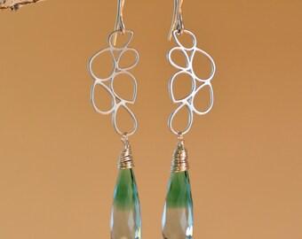 Bi Color Green Clear Quartz Earrings. Ametrine Like Gemstone Teardrop Earrings. Fine Statement Jewelry. Unique Gift.