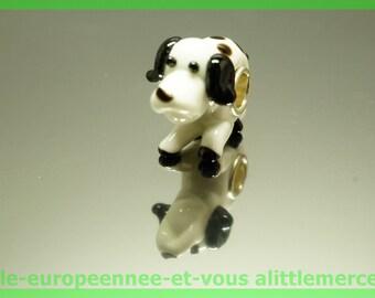 Pearl glass dog European FAN102 for bracelet necklace charms