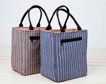 Mother's Day Gift!SALE 15% OFF!Drawstring Insulated Lunch Bag.Insulated cooler,Insulated Lunch,Stripes Insulated Lunch Bag/men lunch box bag