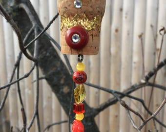Red Yellow Ornament, Repurposed Wine Cork Ornament, Window Charm, Hanging Pendant, Mirror Charm, Garden Accent, Upcycled Cork Decoration