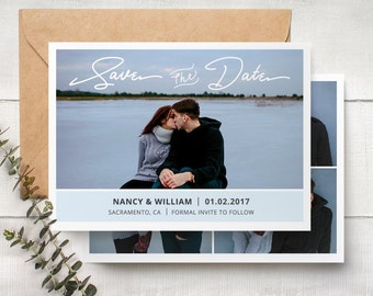 Save The Date Template - Engagement Announcement Card Photoshop Template  SAVE THE DATE 003