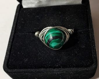 Malachite, silver, wire wrapped, size 8 ring