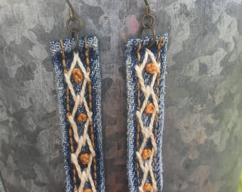 Re-Purposed Denim Hand-Embroidered Earrings