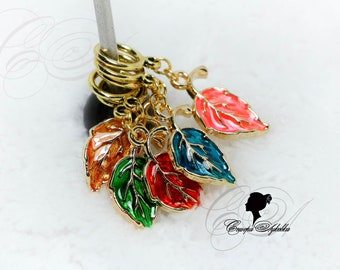 Knitting Markers - The Leaves - Handmade Stitch Markers for knitting (5 PCs.) ring 9 mm.