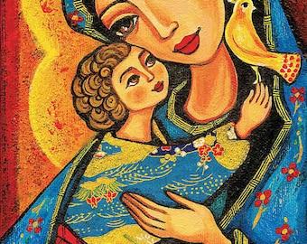 Madonna child, Virgin Mary Jesus painting, mother child, christian folk art, motherhood, beauty painting, feminine decor print 7x12+