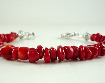 Red Coral Bracelet Bright Red Bamboo Coral Bracelet Red Bamboo Coral Silver Bracelet Red Coral Bead Bracelet Red Bracelet Red Bead Bracelet