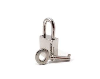 Small Silver Lock, Small Collar Lock, BDSM lock, Small Padlock Silver, Locking Collar Lock, Mini Padlock, Square Silver Lock, Purse lock