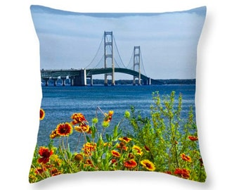 Flowers by the Bridge at the Straits of Mackinac in the Michigan Upper Peninsula No.0673 decorative novelty pillow Home Décor cushion cover