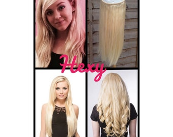 HALO hair extensions, flip in hair extensions 100g Lightest blonde #60 (not white/platinum) human secret wire HEXY hair extensions bespoke