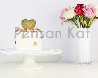Glitter Gold Pink Heart Cake Styled Stock Image, Graphic Banner, Bakery header, Red White Roses, Flowers