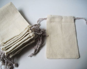 "10pcs - Plain Muslin cotton bag with drawstring - 3.2""(W) x 4.8""(L) *CB001*"