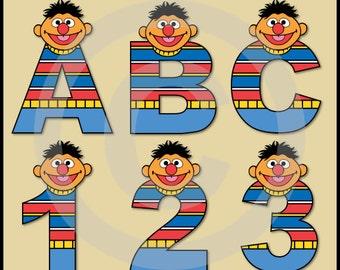 Ernie (Sesame Street) Alphabet Letters & Numbers Clip Art Graphics