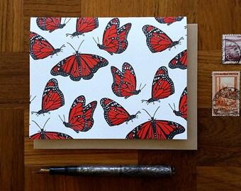 Monarch Butterflies, Letterpress Note Card, Blank Inside