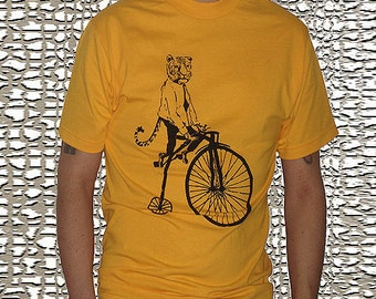 Men's Tiger on a Bike T Shirt - Womens Graphic Tees - Tiger Tshirt Zoo Shirt Matching Shirts Field Trip Kids Tshirt Circus Theme