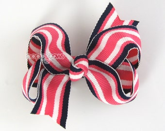 Navy and Dark Pink Striped Hair Bow - Baby Toddler Girl - 3 Inch Boutique Bow on Alligator Clip Barrette Preppy