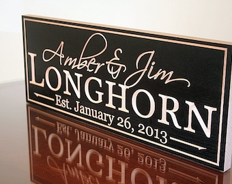 Family Name Sign, Wood Established Sign, Carved Wooden Sign, Engagement Date Sign, Carved Wedding Sign, Benchmark Custom Signs, Maple LH