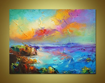 Colorful Painting Seascape Oil Modern ArtPalette Knife Original Artwork