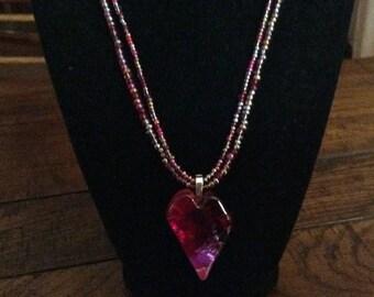 Handmade Glass Heart and Czech Glass Necklace