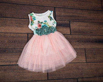 Floral Mint Tulle Dress, Tutu Dress, Cotton Dress with Floral Bow, Photography Prop, Birthday Dress, Flower Girl, Size 2T, 3T, 4T, 5T, 6