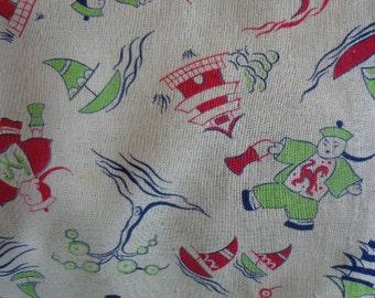 Vintage Asian Motif Feed Sack Fabric