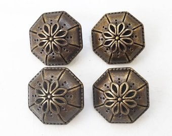 eco friendly vintage inspired domed brassy bronze tone plastic umbrella shaped shank buttons with flower design--matching lot of 4