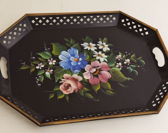 Vintage LARGE Floral Metal Tole Pierced Toleware Tray w/ Handles-E.T. Nash Tray