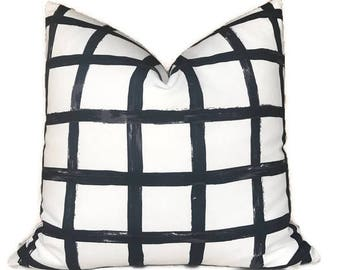 Designer Checks Printed Pillow Cover in Black and White, Decorative Throw Pillows, Various Sizes Available